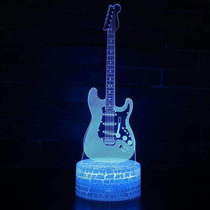 Multicolor RGB Guitar 3D Illusion Lamp 7 Color Change Touch Switch LED Night Light