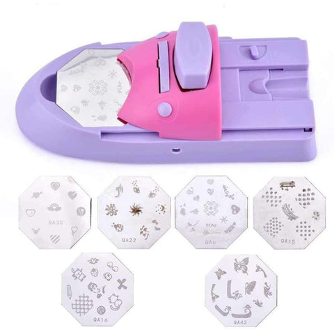 Planet Gates Nail Tools DIY Nail Art Printer Printing Manicure Machine Stamp Set with 6 Metal Pattern Plates Scraper Printing Chart Plate