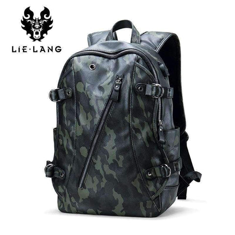 Planet Gates Navy Blue LIELANG Men Backpack External USB Charge Waterproof  Backpack Fashion PU Leather Travel Bag Casual School Bag For Teenagers