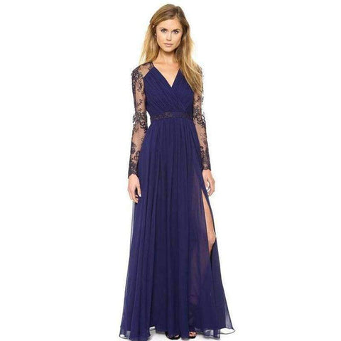 Planet Gates Navy Blue / S Women Maxi Dress Summer Hollow Out Split Long Party Dress For  Women Sexy V Neck Female Lace Summer Event Dress