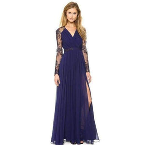 Women Maxi Dress Summer Hollow Out Split Long Party Dress For  Women Sexy V Neck Female Lace Summer Event Dress