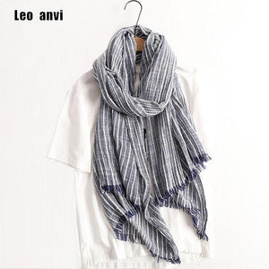 Planet Gates navy blue Winter Scarf Women and Men Striped Cotton Linen Scarfs Vintage Oversized Shawls and Scarves