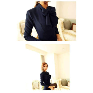 MingJieBiHuo fashion new temperament pencil dress work style women summer OL office sexy bow navy elegant slim party long dress