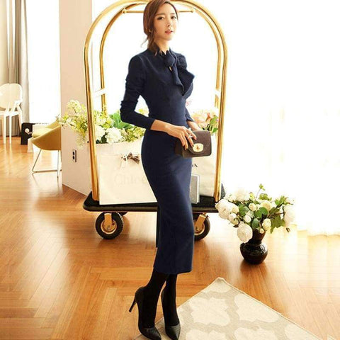 Planet Gates navy / S MingJieBiHuo fashion new temperament pencil dress work style women summer OL office sexy bow navy elegant slim party long dress