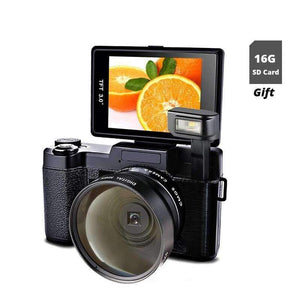 Planet Gates New 24MP Digital SLR Photo Camera Video Camcorder Wide Angle Lens Photo Cameras 1080P Digital Video Camera with 16G SD Card