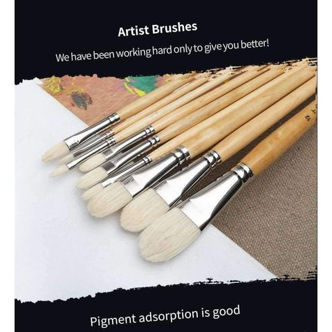Planet Gates number 1 Master Bristle Nail Round Oil Painting Brush Solid Wood Pole Artist Oil Acrylic Paint Brushes  Art Supplies 7110FR