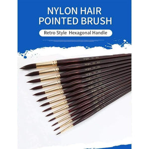 Professional Watercolor Paint Brush Nylon Hair Pointed Watercolor Oil Acrylic Painting Brush For Artist Art Supplies 730