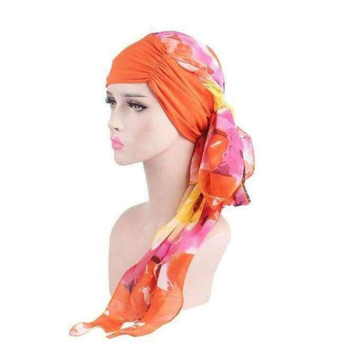 Image of Planet Gates Orange Haimeikang 2018 New Women Chemo Cap Turban Long Hair Band Scarf Head Wraps Hat Boho Pre-Tied Bandana Hair Accessories for Women