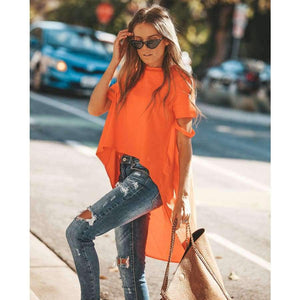 Orange Asymmetrical T-shirt Solid Tee Women Street O-neck Short Sleeve Loose Top Tee 2018 Summer T-shirt ropa mujer