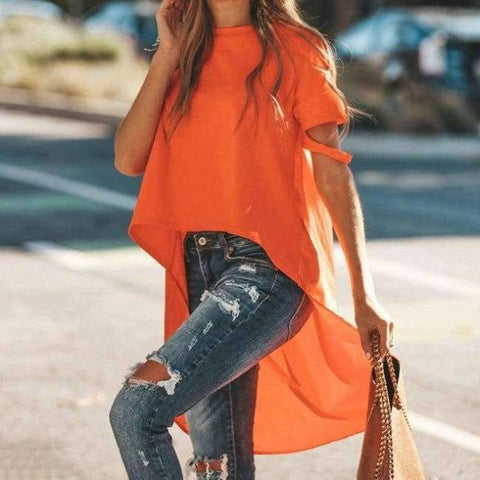Planet Gates Orange / L Orange Asymmetrical T-shirt Solid Tee Women Street O-neck Short Sleeve Loose Top Tee 2018 Summer T-shirt ropa mujer
