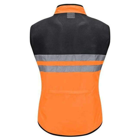 Image of Planet Gates Orange / L WOSAWE High Visibility Cycling Vest Safety Reflective Vest Night Riding Protect Jacket Pocket Breathable Motorcycle Bicycle Vest