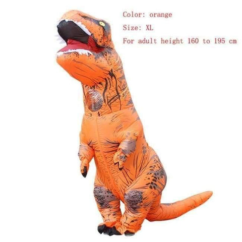 Image of Planet Gates orange size XL / T REX Adult  T-REX Inflatable Costume Christmas Cosplay Dinosaur Animal Jumpsuit Halloween Costume for Women Men