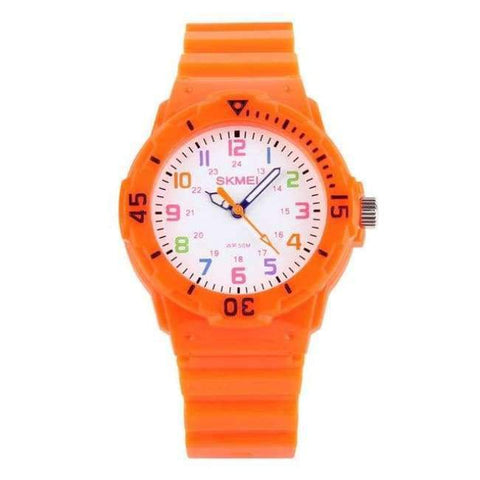 Planet Gates Orange SKMEI Fashion Children Watches 50M Waterproof Quartz Wristwatches Jelly Kids Clock Hours Boys Girls Junior Students Sport Watch