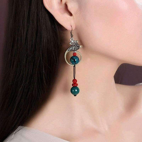 Image of Planet Gates Original Phoenix Folk Style Earrings Chinese Handmade Retro Malachite Stone Beads Earrings Ethnic Jewelry