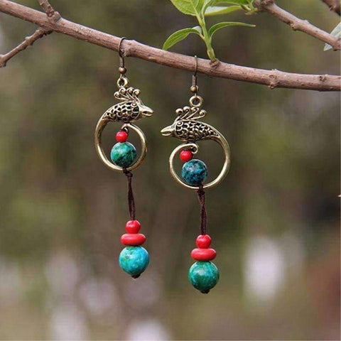 Planet Gates Original Phoenix Folk Style Earrings Chinese Handmade Retro Malachite Stone Beads Earrings Ethnic Jewelry