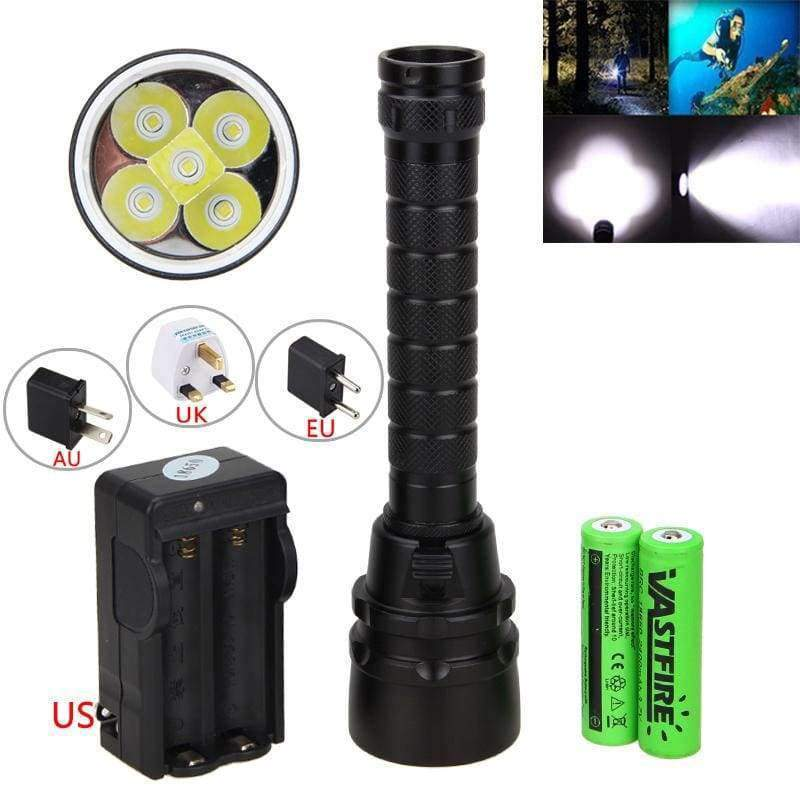 Planet Gates Package 2 / Black Waterproof Underwater 100m Diving Flashlight  2500Lm T6  18650 LED Scuba Dive Torch Lamp+Dive Goggles+Breath Tube+Gloves