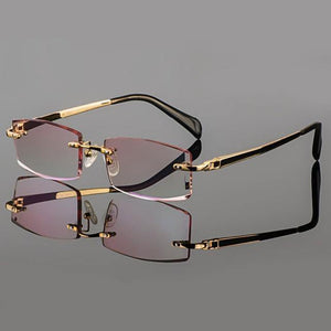 Phantom trimming titanium eyewear male model diamond trimming Gold rimless finished prescription