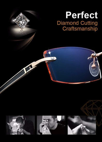 Planet Gates Phantom trimming titanium eyewear male model diamond trimming Gold rimless finished prescription