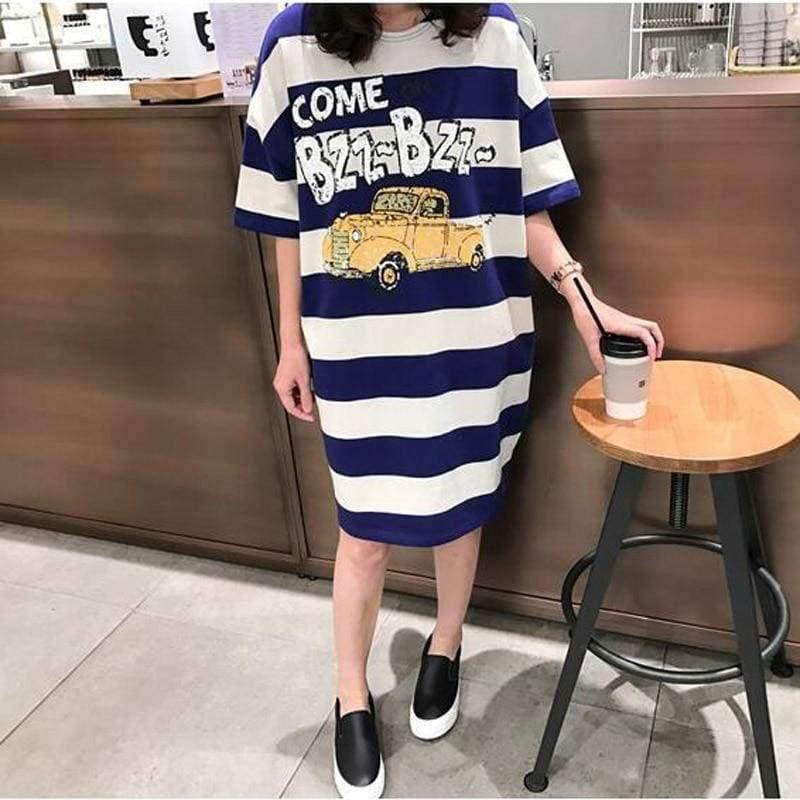 Planet Gates photo color / M Moms Clothes Summer shirts Pregnant Clothes Strip Tops  O-neck Mid-Calf Casual Plus Size Maternity Dresses 9107