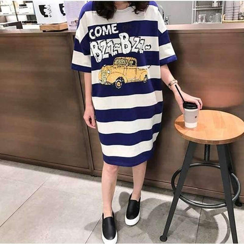 Image of Planet Gates photo color / M Moms Clothes Summer shirts Pregnant Clothes Strip Tops  O-neck Mid-Calf Casual Plus Size Maternity Dresses 9107