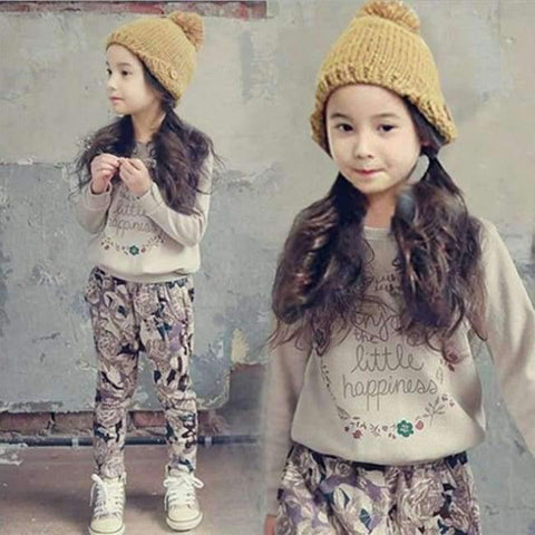 Planet Gates picture color / 3T Teenage Girls Clothing Sets Autumn Letter Print T-shirts + Harem Pants Costume Kids Clothes Vetement Enfant Fille 12 13 14