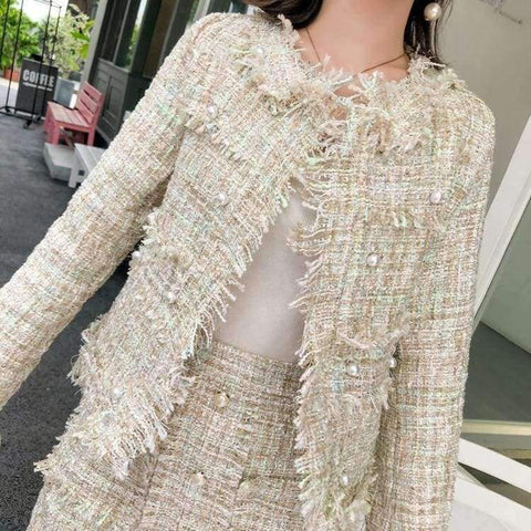 Planet Gates picture color / S Newest Design Autumn Tassel Tweed Wool 2 pieces Sets Women Office Clothing Mujer Pearl jacket Coats + Skirt Suits