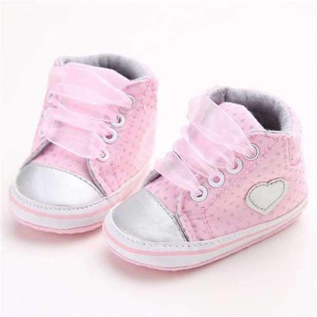 Planet Gates Pink / 1 Pink Polka Dot Cotton Soft Sole Baby Shoes Lace-up Spring/Autumn First Walkers Newborn Infant Toddler Crib Girl Shoes Wholesale