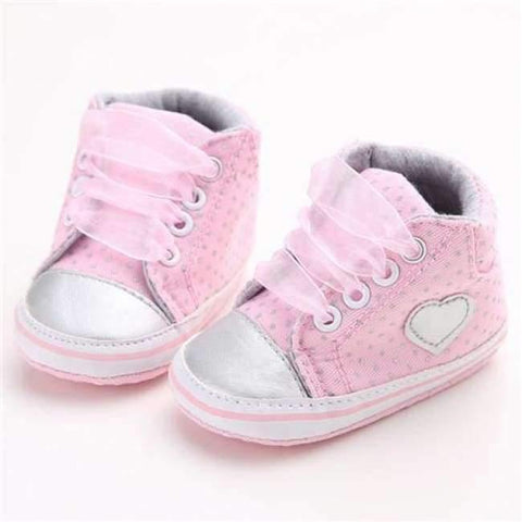 Image of Planet Gates Pink / 1 Pink Polka Dot Cotton Soft Sole Baby Shoes Lace-up Spring/Autumn First Walkers Newborn Infant Toddler Crib Girl Shoes Wholesale