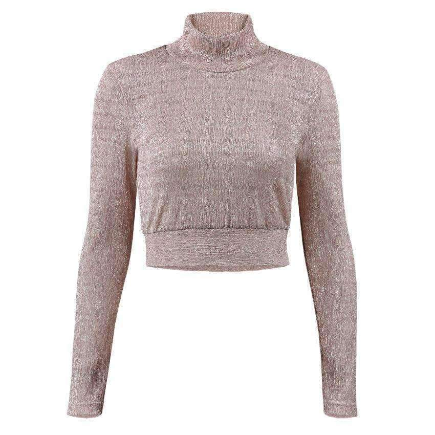 Planet Gates Pink / L Fashion Women T Shirt See Through Mesh Cropped Tops tshirt 2017 Transparent Turtleneck Long Sleeve Tee Tops blusa Casual