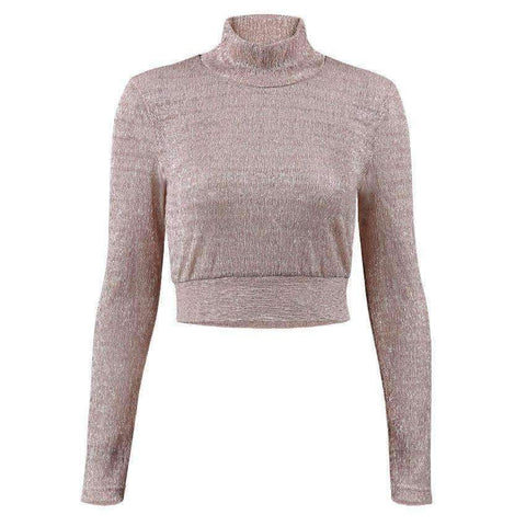 Image of Planet Gates Pink / L Fashion Women T Shirt See Through Mesh Cropped Tops tshirt 2017 Transparent Turtleneck Long Sleeve Tee Tops blusa Casual