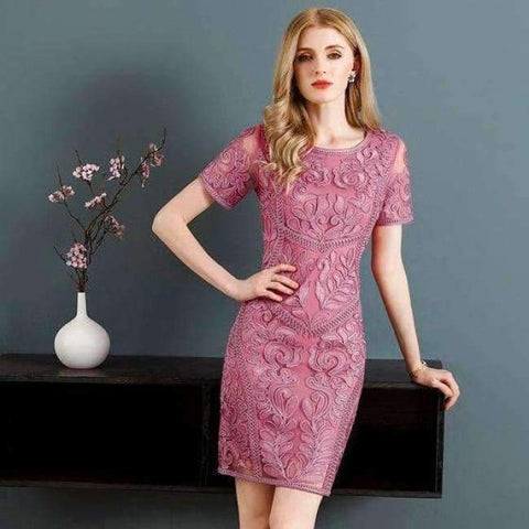 Image of Planet Gates pink / M Dress Vestidos De Feta Women O-Neck Allover Appliques Embroidery Short Sleeve Bodycon Dark Blue Pink Dress Events Party