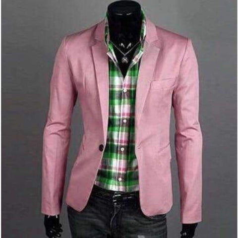 Planet Gates Pink / M Fashion Blazer Men 2018 New Spring Autumn Clothing Candy Colors Blazer masculino Casual  Slim Fit Wild terno Men's Suit Jacket