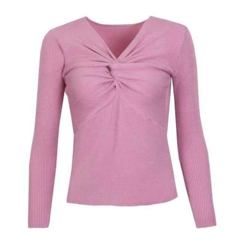 Planet Gates Pink / One Size Sexy Criss-Cross V neck Knitted Sweater Women Long Sleeve Winter 2018 Pullovers All match Streetwear jumper pull femme