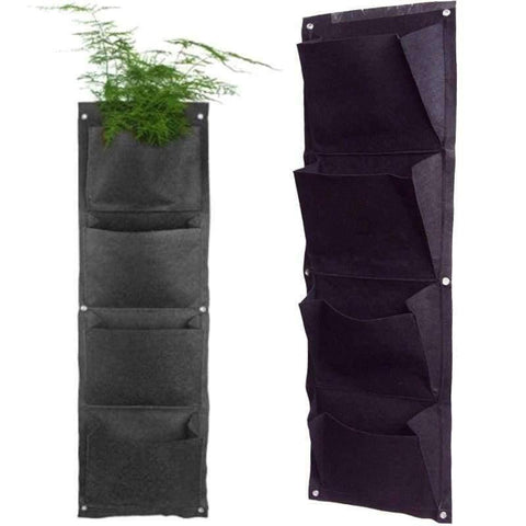 Planet Gates Planter Grow Bag 4 Pockets Black Vertical Garden Wall-mounted Planting Flower Vegetable Living Garden Home Supplies 26.5*65cm