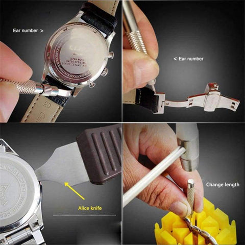 Image of Planet Gates Professional Watch Repair Tool Kit Watchmaker Tools Watch Case Opener Adjustable Strap Pin Watch Accessories horloge gereedschap