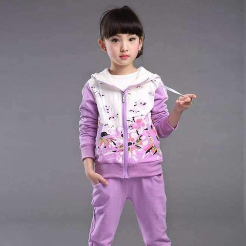 Planet Gates Purple / 4T Spring Autumn teenage girls clothing set zipper sports clothes for girls children tracksuit kids sport suit 4-12T