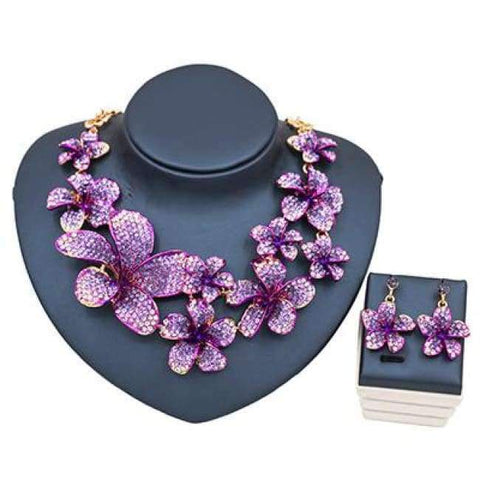 Planet Gates purple LAN PALACE 2017 fine jewelry african wedding beads nigerian necklace and earrings for party beautiful flowers  free shipping