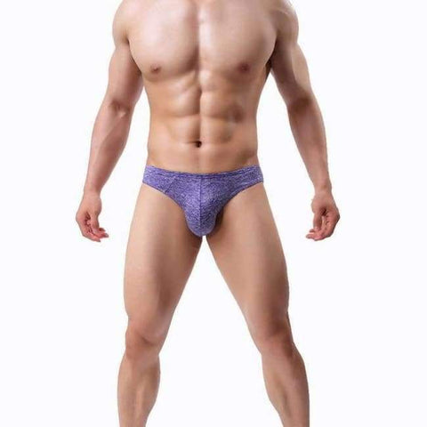 Lasperal 1Pc Solid Breathable Men Briefs U Convex Panties Underpants Underwear Sexy Thin Breathable Men Mid Waist Underwear - Purple / S