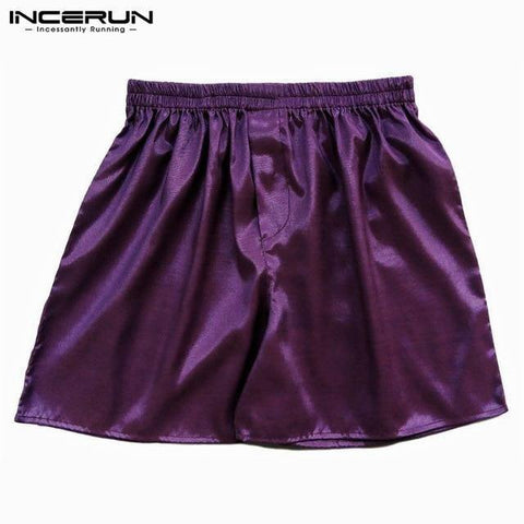 Planet Gates Purple / S Satin Men Sleep Boxer Bottoms Pajama Lounge Shorts Sleepwear Solid Underwear Homewear Shorts Men S-5XL