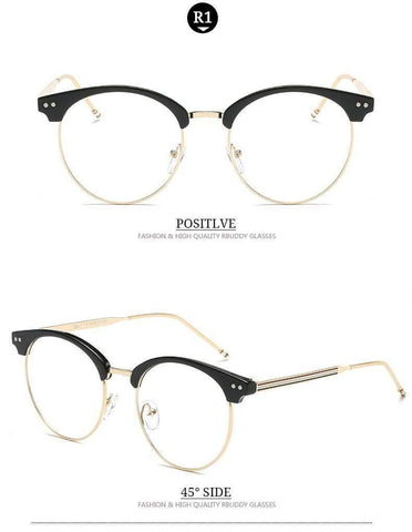 Planet Gates R2 Transparent Glasses Fake Computer Reading Glasses Clear Lens Men Women Optical Eyewear Metal Eyeglasses
