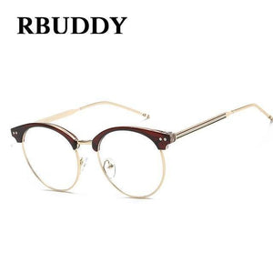 Transparent Glasses Fake Computer Reading Glasses Clear Lens Men Women Optical Eyewear Metal Eyeglasses
