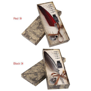 1 Set English Calligraphy Feather Dip Pen Writing Ink Set Stationery Gift Box with 5 Nib