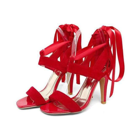 Image of Planet Gates Red / 4 Meotina Women Shoes Sandals 2018 Summer Cross Tied High Heel Sandals Gladiator Women Sexy Party Heels Blue Red Large Size 44 45