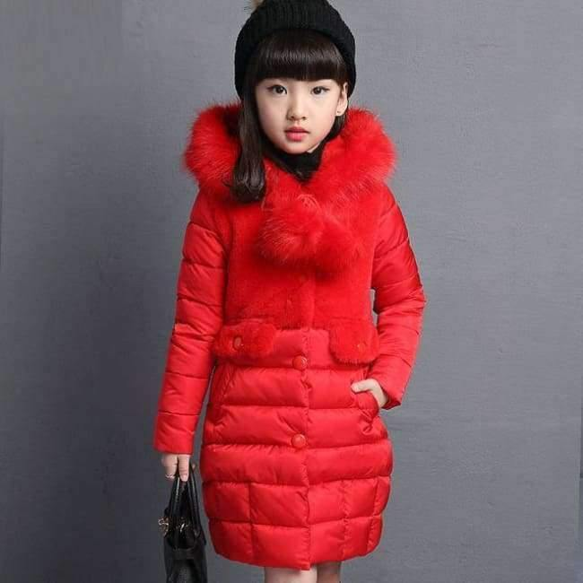 Planet Gates red / 4 Winter Big Girls Warm Thick Jacket Outwear Clothes Cotton Padded Kids Teenage Coat Children Faux Fur Hooded Parkas P28
