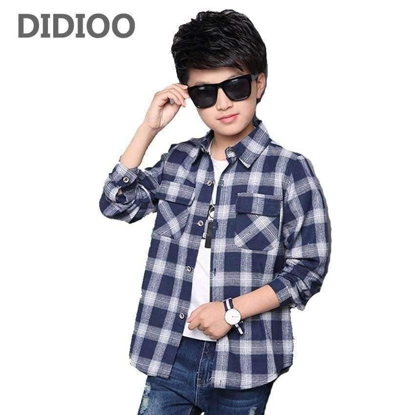 Planet Gates Red / 5 Kids Shirts for Boys Long Sleeve Plaid Tops Autumn Children Clothing Teenage Casual Blouses Plus Size Infant Shirt 9 12 14 Years