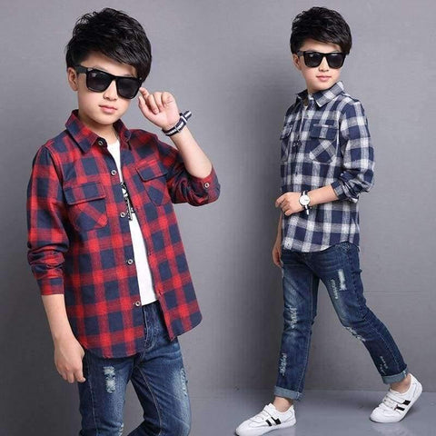 Image of Planet Gates Red / 5 Kids Shirts for Boys Long Sleeve Plaid Tops Autumn Children Clothing Teenage Casual Blouses Plus Size Infant Shirt 9 12 14 Years