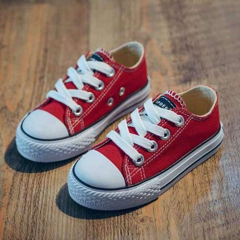 Image of Planet Gates Red / 9 Classic Children Canvas Shoes Girls Boys Kids Sneakers 2018 Fashion Casual Baby Running Shoes Solid Color Child Sport Shoes