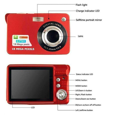 "Planet Gates Red Children Portable Mini Camera 2.7"" 720P 18MP 8x Zoom TFT LCD HD Digital Camera Video Camcorder DV Anti-Shake Photo For Kids Gift"
