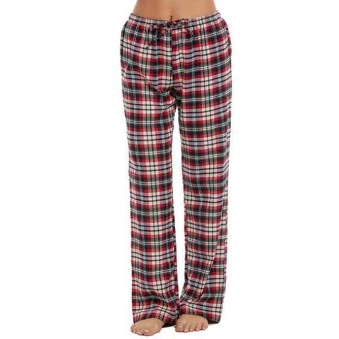 Planet Gates red / L Women Cotton Sleep Bottoms Elastic Waist Plaid Long Pajama Bottom Lounge Pants Plaid Casual Loose Home Clothing S-XXL