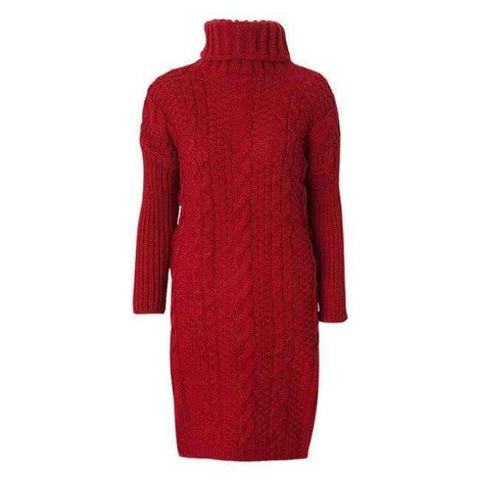 Planet Gates Red / One Size Thicken Knitted Pullovers Turtleneck Long Sweater For Women Autumn Winter Twist Knit Lady's Sweater 2018 Warm Pull Femme